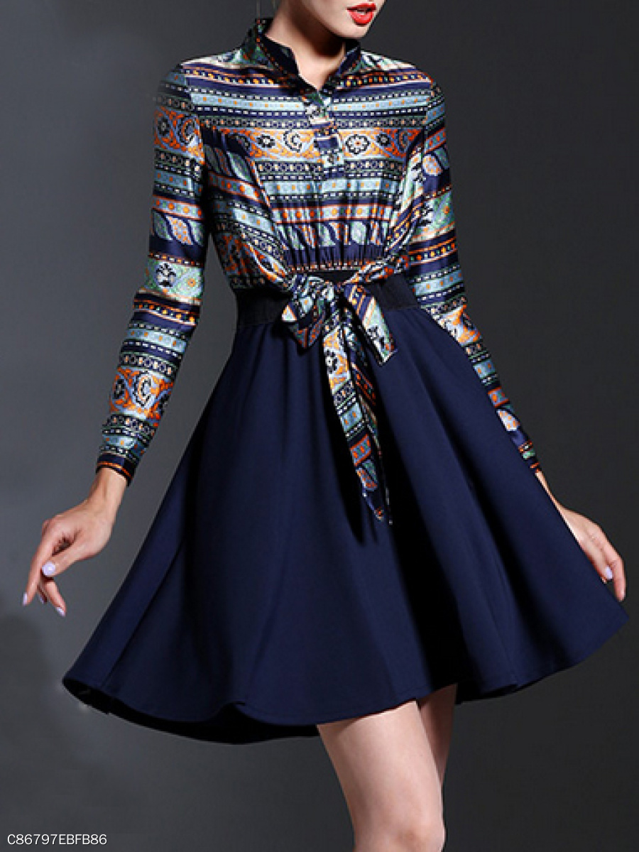 Band Collar  Fake Two-Piece  Abstract Print Skater Dress