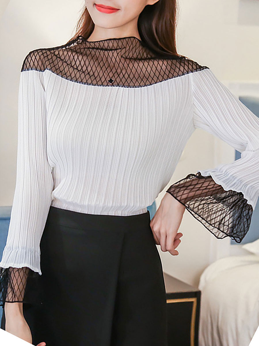 Autumn Spring  Blend  Women  High Neck  Decorative Lace Patchwork See-Through  Plain Long Sleeve T-Shirts