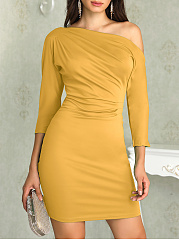One Shoulder  Ruched  Plain Bodycon Dress