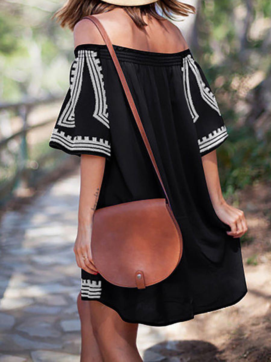 Off Shoulder  Printed Shift Dress
