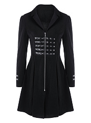 Narrow Notch Lapel  Lace-Up Zips  Rivet  Plain  Long Sleeve Coats