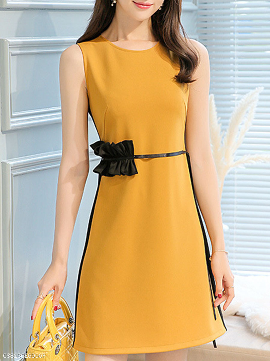 Round Neck  Patchwork  Belt  Color Block Plain Skater Dress