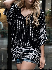 Oversized V-Neck  Printed Striped Tunic