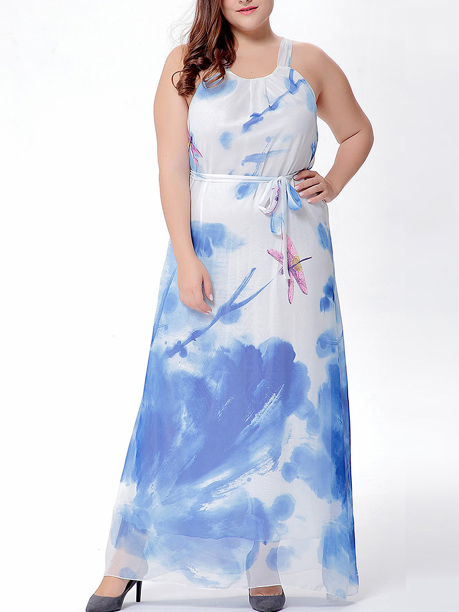 Attractive Spaghetti Strap Printed Chiffon Plus Size Maxi Dress