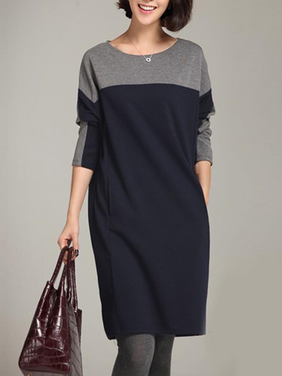 Round Neck Color Block Pocket Shift Dress