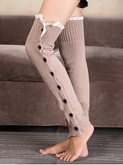 Casual Decorative Button Long Knit Leg Warmers
