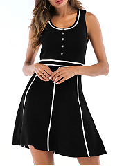 Round Neck  Patchwork  Contrast Piping  Striped Skater Dress