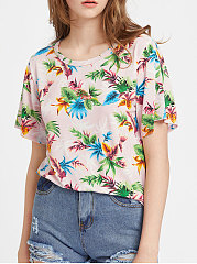 Summer-Polyester-Women-Round-Neck-Floral-Printed-Short-Sleeve-T-Shirts