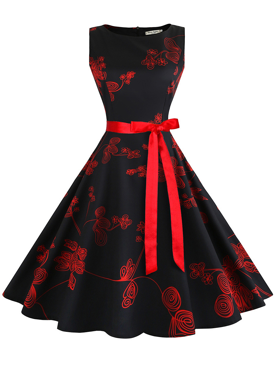 Round Neck  Bowknot  Belt  Floral  Cotton Skater Dress