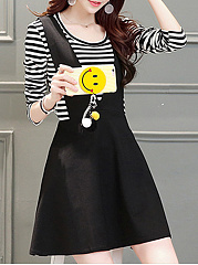 Round Neck  Patchwork Ruffled Hem  Contrast Piping Fake Two-Piece  Color Block Striped Skater Dress