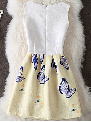 Butterfly Printed Round Neck Inverted Pleat Embossed Skater Dress