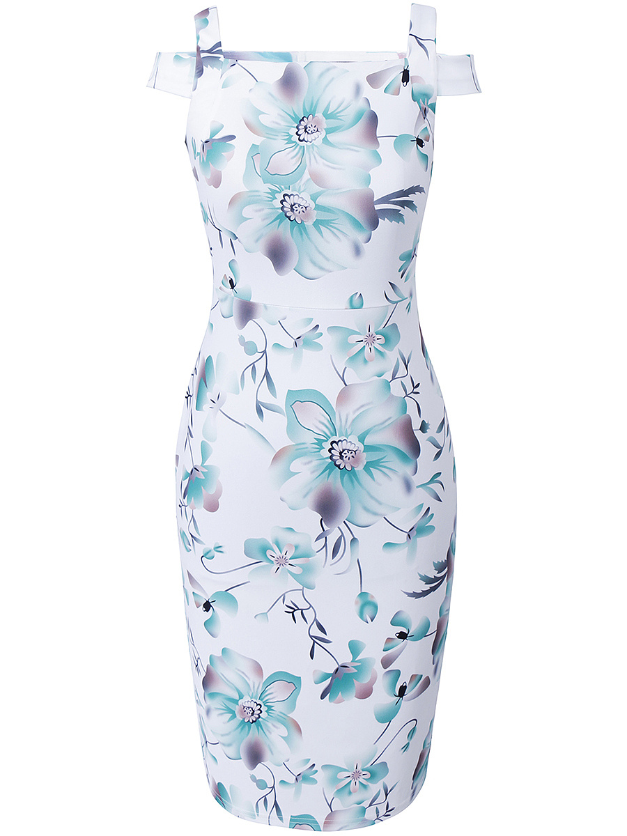 Courtly Open Shoulder Floral Printed Bodycon Dress