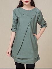 Round-Neck-Asymmetric-Hem-Decorative-Buttons-Plain-Long-Sleeve-T-Shirts