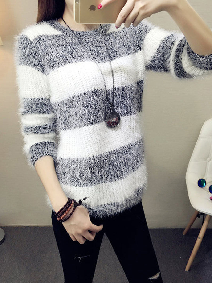 Round Neck  Fluffy Striped Pullover