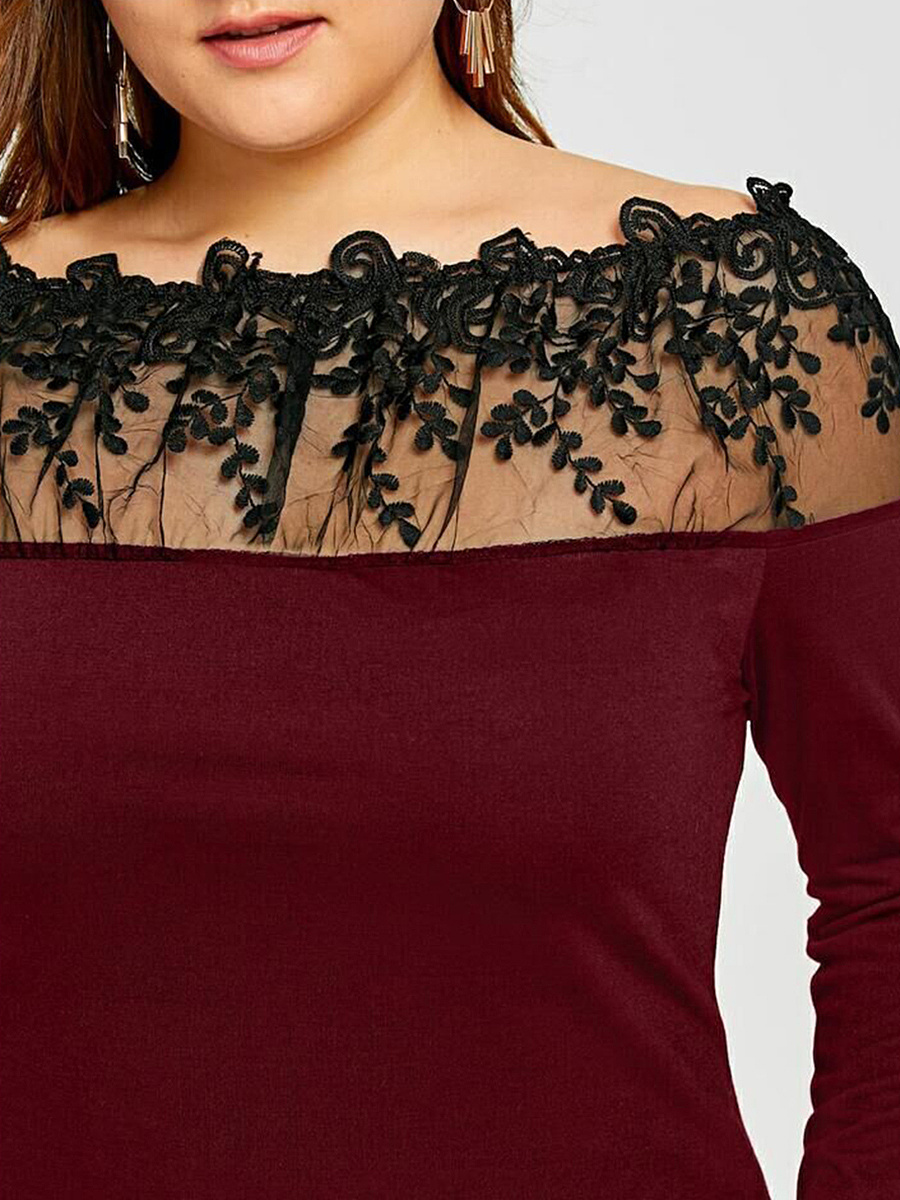 Open Shoulder  Lace Stitching Plain Long Sleeve Plus Size T-Shirts