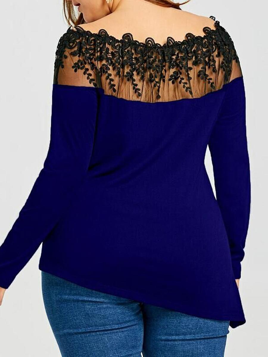 Open Shoulder  Lace Stitching Plain Long Sleeve Plus Size T-Shirts
