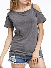 Spring Summer  Cotton  Women  Open Shoulder  Plain Short Sleeve T-Shirts