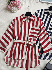 Turn Down Collar  Belt  Striped  Roll-Up Sleeve  Long Sleeve Blouses