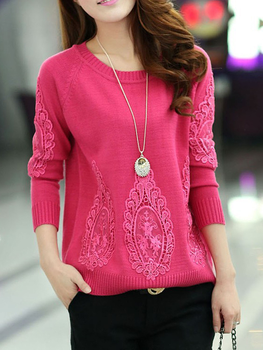 Decorative Lace  Plain Round Neck  Sweater