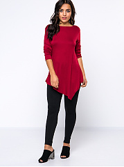 Exquisite Round Neck Asymmetrical Hems Plain Long Sleeve T-Shirt