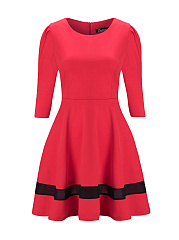 Vintage Hollow Out Half Sleeve Skater Dress