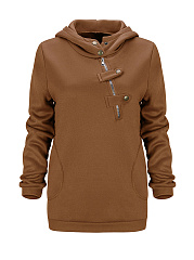 Fancy Hooded Decorative Buttons Plain Hoodie