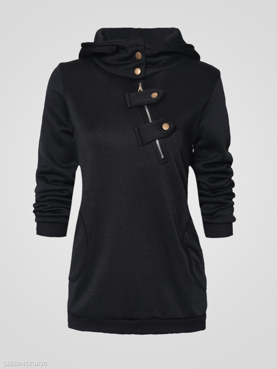 Hooded  Plain  Long Sleeve Hoodies