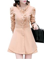 Hot Sale Band Collar Plain Trench-Coats