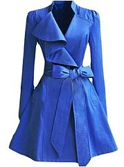 Blue Bowknot Lapel Slim Plain Trench-Coat