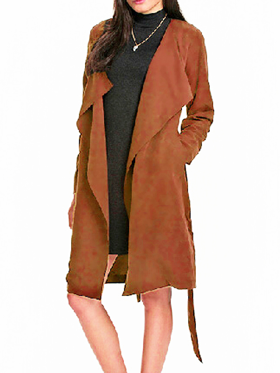 Plain Fancy Lapel Trench-Coats