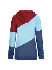 Drawstring Color Block Striped Hoodie