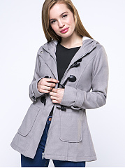 Manteau simple boutonnage à capuche