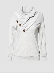 Cowl-Neck-Decorative-Button-Plain-Sweatshirt