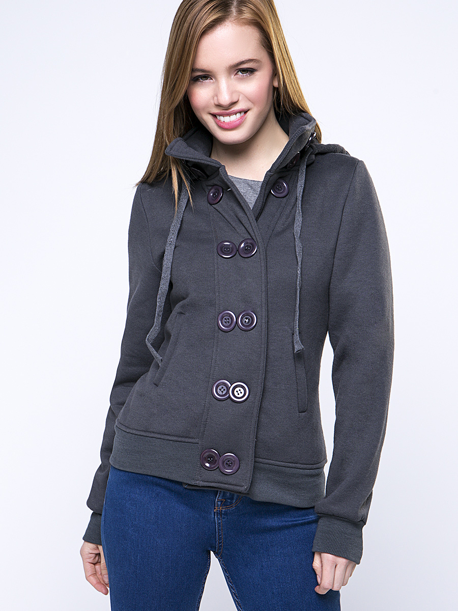 Double Breasted Drawstring Pocket Plain Hoodie