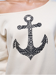Autumn Spring  Women  Boat Neck  Printed Long Sleeve T-Shirts