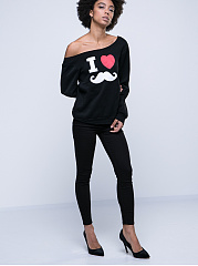 Autumn Spring Winter  Cotton  Women  Boat Neck  Printed Long Sleeve T-Shirts