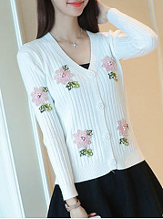 Beading Single Breasted  Floral  Long Sleeve Cardigans