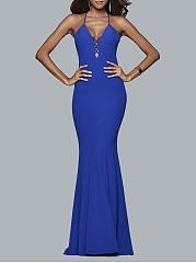Spaghetti Strap  Backless Flounce  Fishtail Hem  Plain Evening Dress