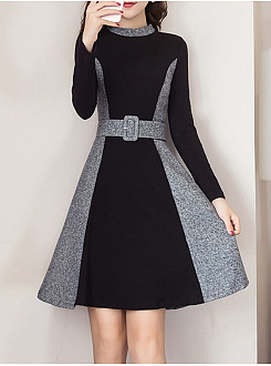 Band Collar Color Block Belt Patchwork Woolen Skater Dress