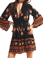 Deep V-Neck Tribal Printed Bell Sleeve Drawstring Skater Dress