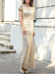 Round Neck Scoop Back Glitter Plain Evening Dress