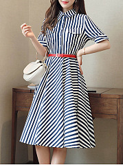 Turn Down Collar Flap Pocket Striped Skater Dress