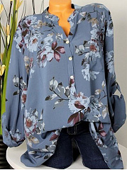 Autumn Spring  Cotton  Women  V-Neck  Single Breasted  Floral Printed  Long Sleeve Blouses