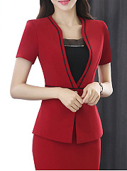 Deep V-Neck  Single Button  Plain  Short Sleeve Blazers