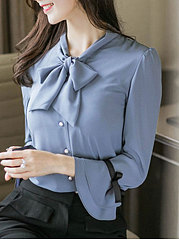 Autumn Spring  Chiffon  Women  Tie Collar  Single Breasted  Plain  Petal Sleeve  Long Sleeve Blouses