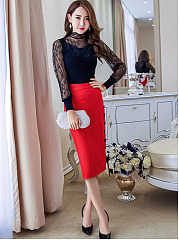 Plain Cutout  Curved Hem Decorative Button  Pencil Midi Skirts