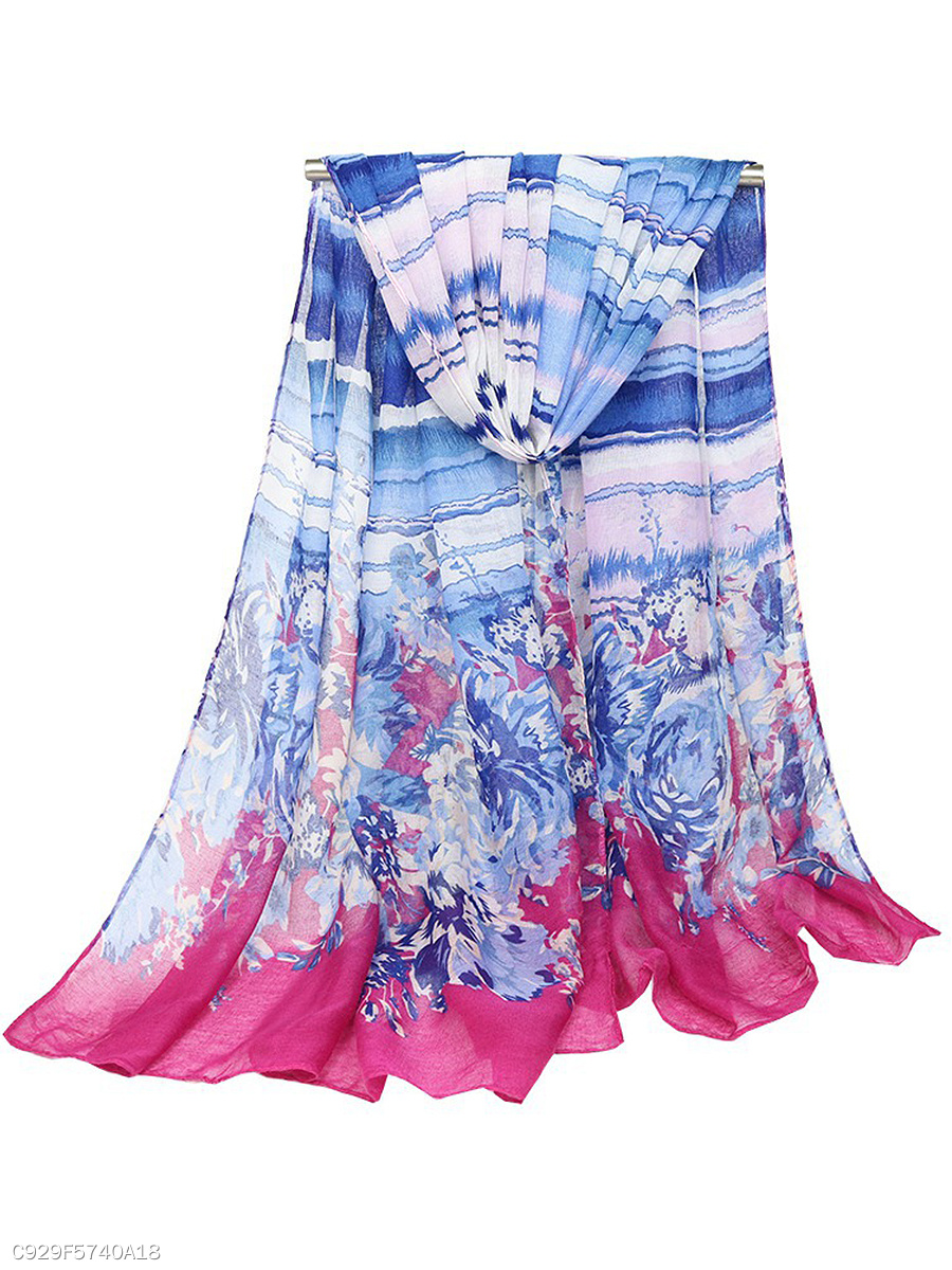 Gauze Floral Striped Scarves