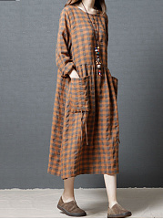 Plaid Round Neck  Patch Pocket   Maxi Dress