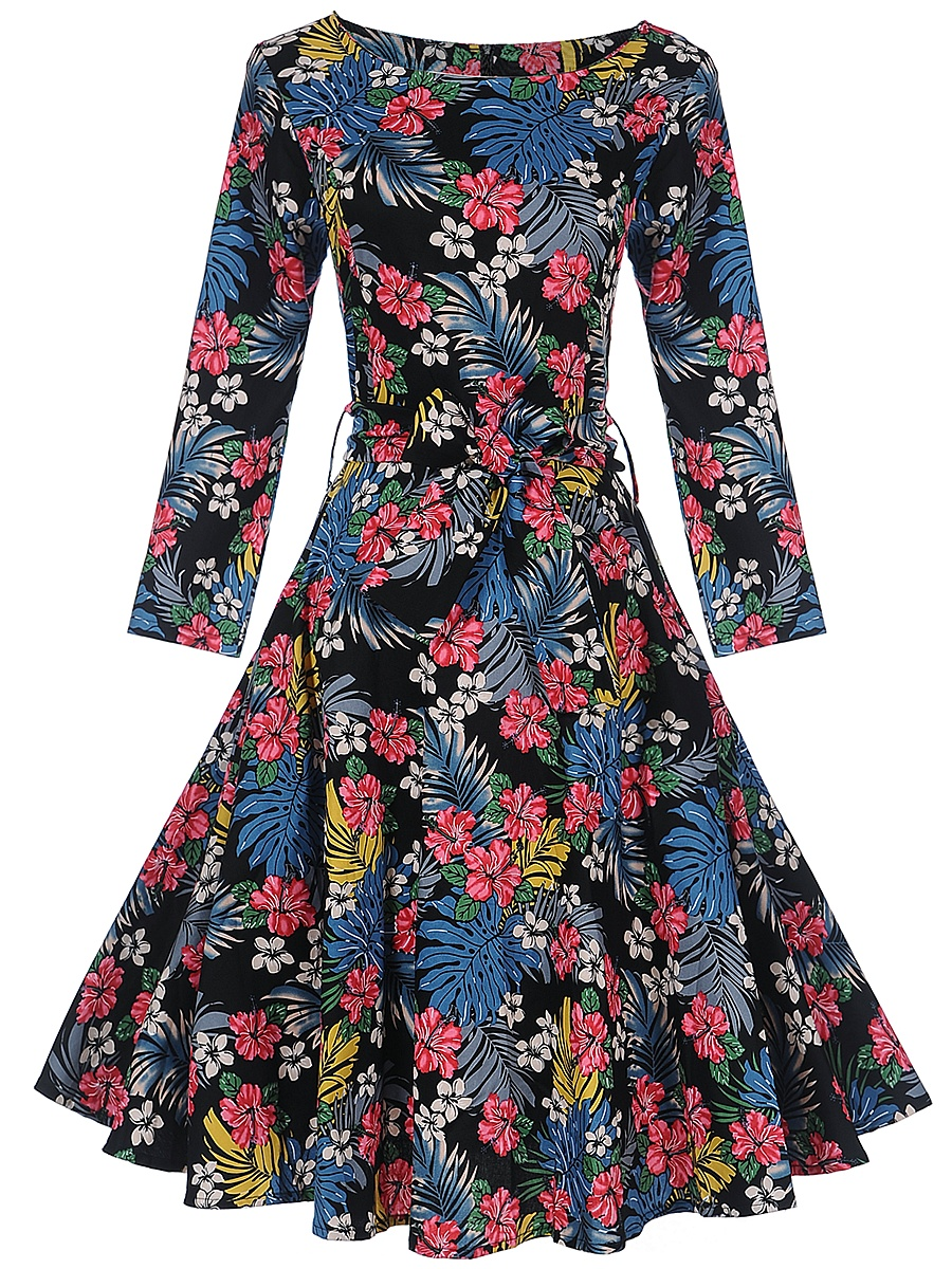 Colorful Floral Printed Round Neck Skater Dress