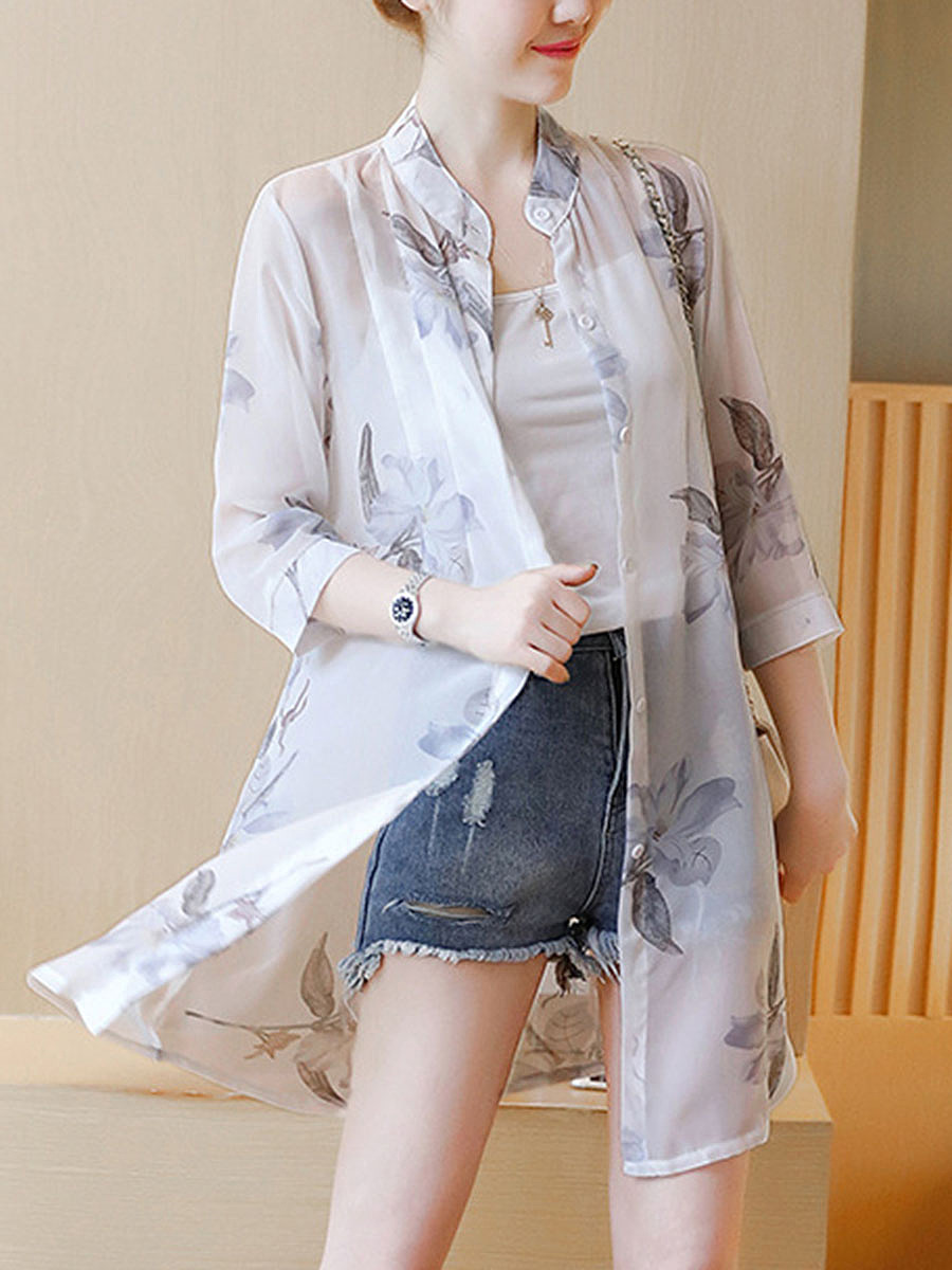 Band Collar  Floral Hollow Out Longline Blouse